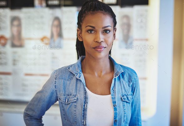 Beautiful woman in casual wear at store - Stock Photo - Images