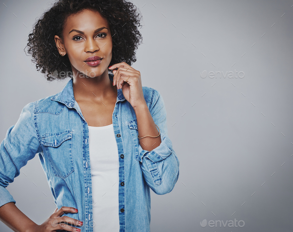Attractive thoughtful African American woman - Stock Photo - Images