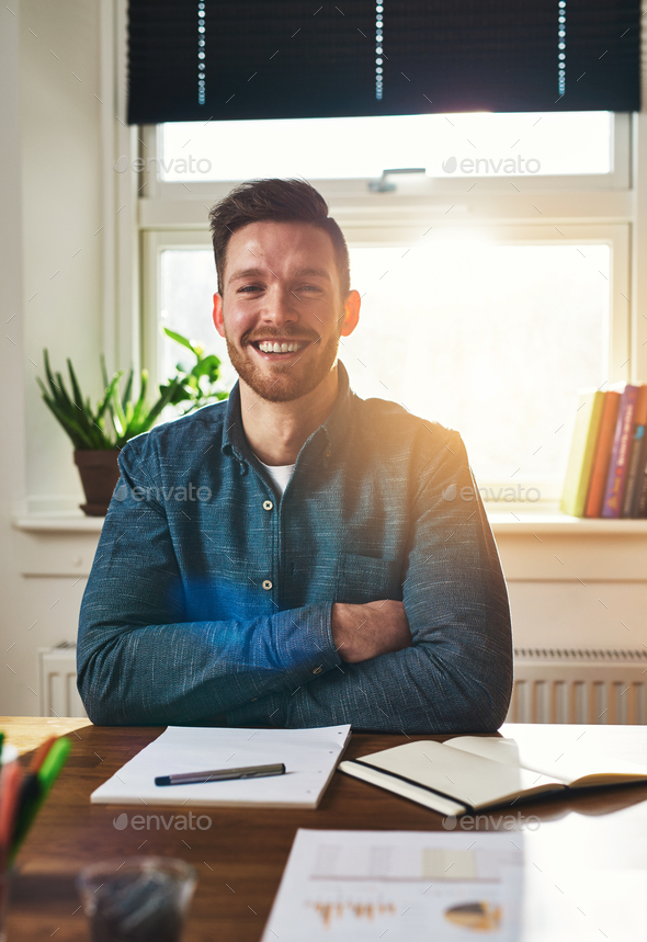 Smiling happy successful businessman - Stock Photo - Images