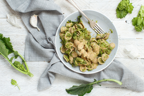 Orecchiette with turnip greens - Stock Photo - Images