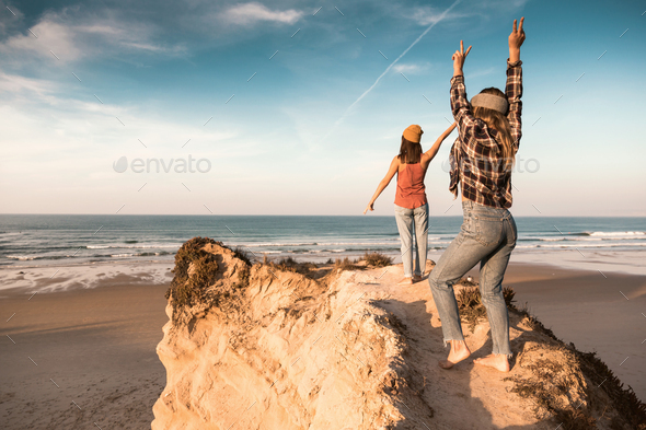 Girls on the beach - Stock Photo - Images
