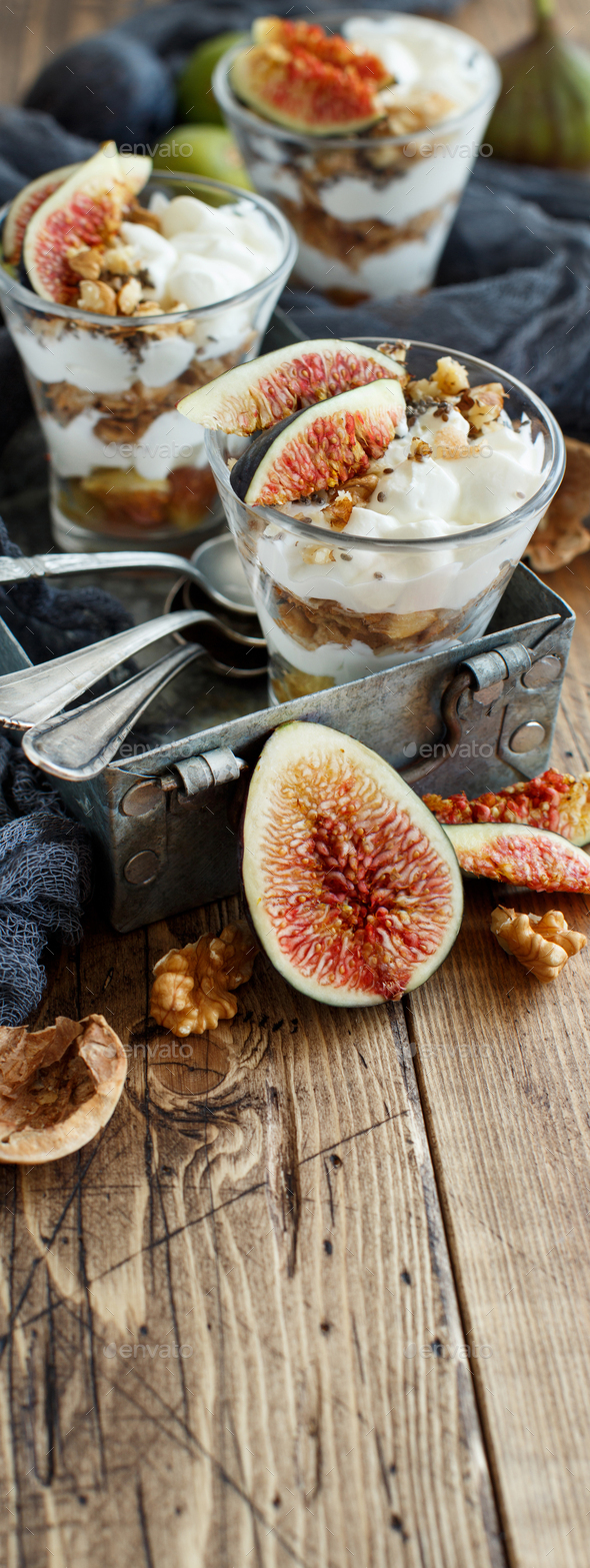 Greek yogurt with figs and granola - Stock Photo - Images