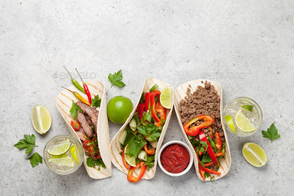 Set of mexican tacos - Stock Photo - Images