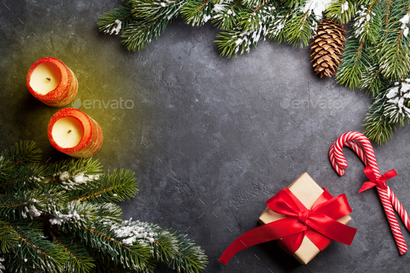 Christmas card with candles and fir tree - Stock Photo - Images