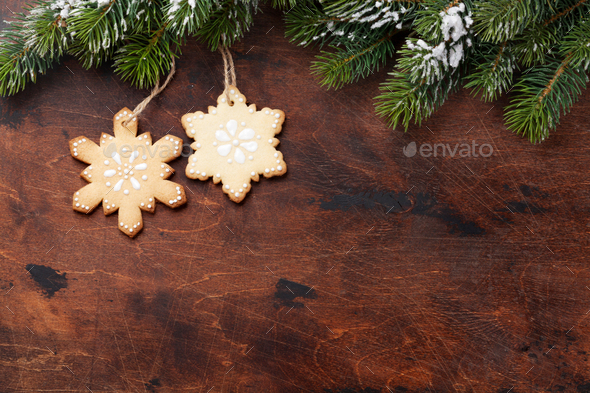 Christmas gingerbread cookies and fir tree - Stock Photo - Images