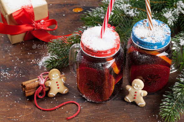 Christmas card with mulled wine - Stock Photo - Images