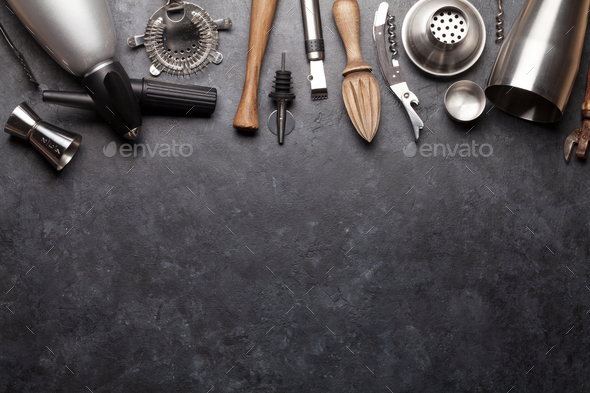 Cocktail utensils. Set of bar tools - Stock Photo - Images