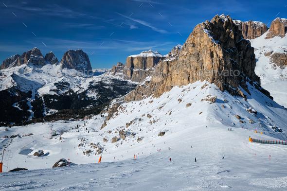 Ski resort in Dolomites, Italy - Stock Photo - Images