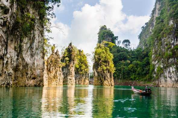Travel island and green lake ( Guilin of Thailand ) - Stock Photo - Images