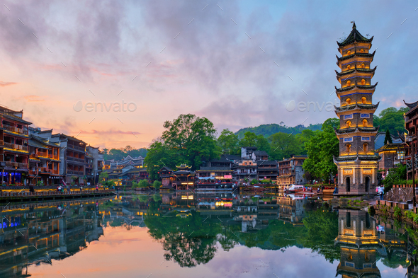Feng Huang Ancient Town (Phoenix Ancient Town) , China - Stock Photo - Images