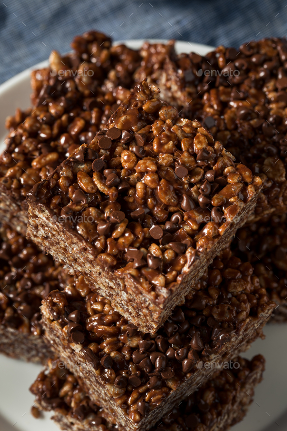 Homemade Chocolate Rice Crispy Treats - Stock Photo - Images
