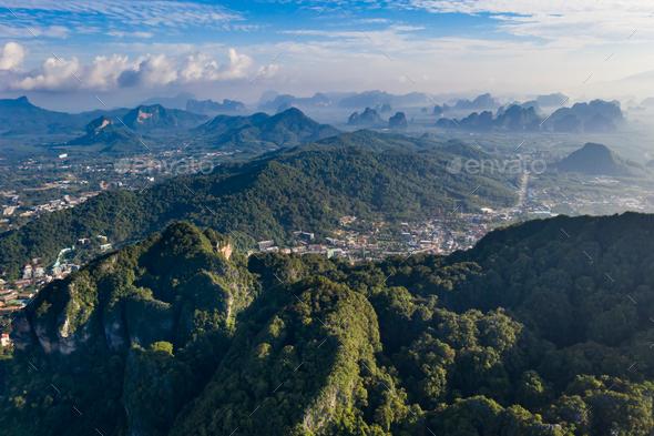 Krabi region aerial view. - Stock Photo - Images