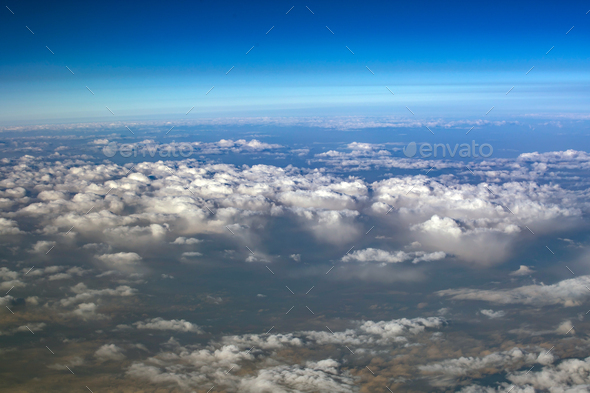 Clouds viewed from airplane - Stock Photo - Images