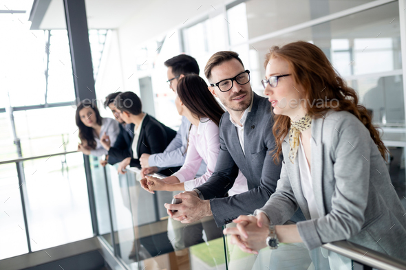 Business people having fun during break in an office - Stock Photo - Images
