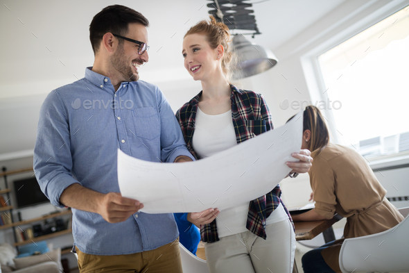 Coworking process, designers team working in modern office - Stock Photo - Images