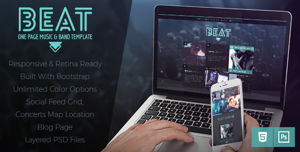 Excellent Beat -  One-Page HTML5 Music & Band Template