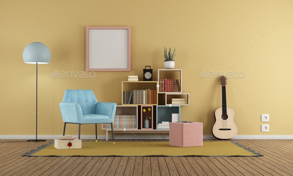 Living room in vintage style with yellow wall - Stock Photo - Images