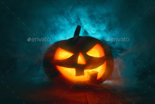 Pumpkin on dark background. - Stock Photo - Images