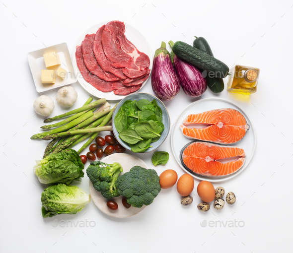 Atkins Diet food ingredients isolated on white, health concept, top view, flat lay - Stock Photo - Images