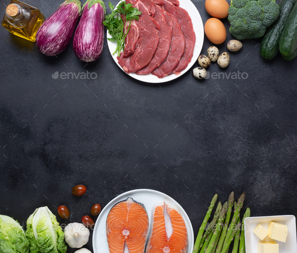 Atkins Diet Food Ingredients On Balck Chalkboard Health Concept Top View With Copy Space Stock Photo By Civil