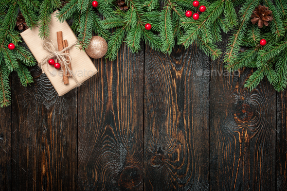 Dark Christmas.Christmas Decoration Background On Dark Wooden Background