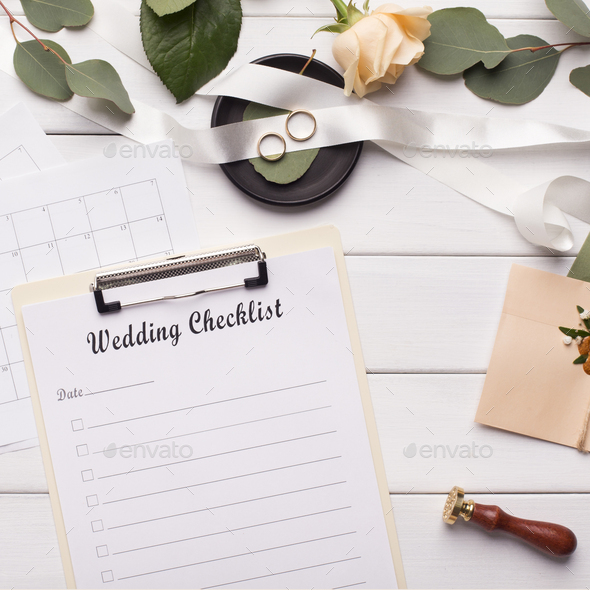Wedding checklist and accessories on white wooden background - Stock Photo - Images