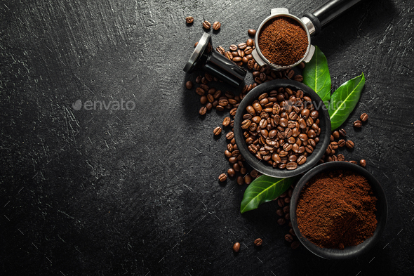 Coffee beans with props for making coffee - Stock Photo - Images