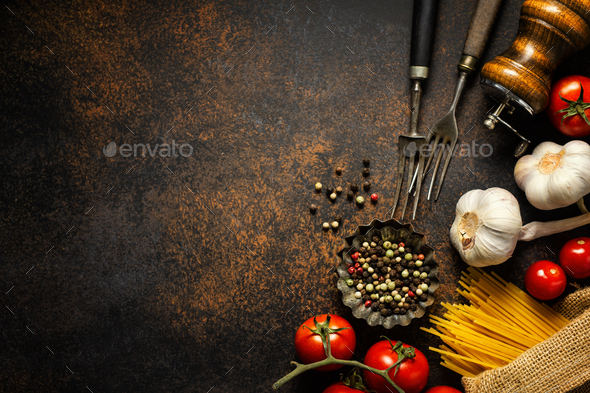 Italian food background with ingredients - Stock Photo - Images