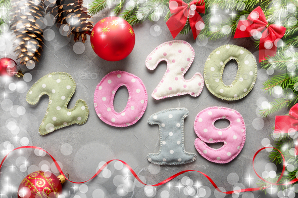 Colorful stitched digits 20 20 19 of polkadot fabric with Christ - Stock Photo - Images