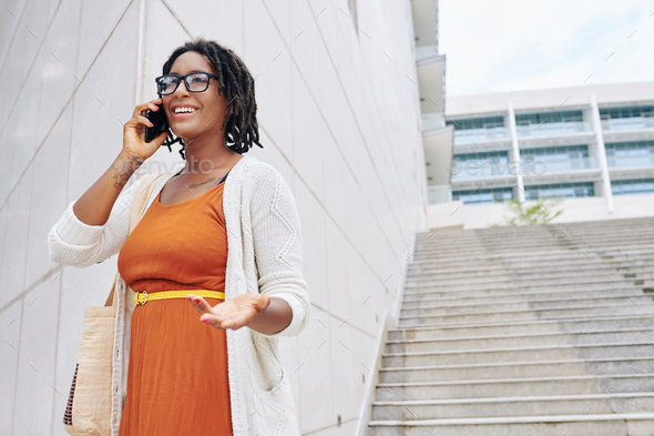 Businesswoman talking on the phone - Stock Photo - Images