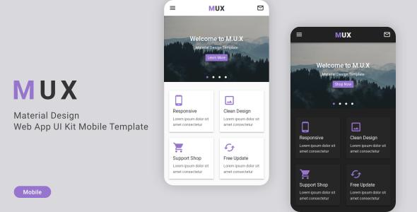 MUX - Material Design Web App UI Kit Mobile Template