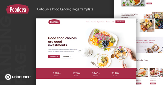 Foodera — Unbounce Food Landing Page Template by thememor