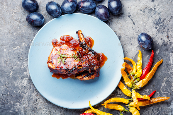 Roasted sliced barbecue pork ribs - Stock Photo - Images