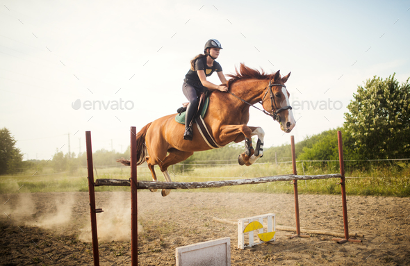 Young female jockey on horse leaping over hurdle - Stock Photo - Images