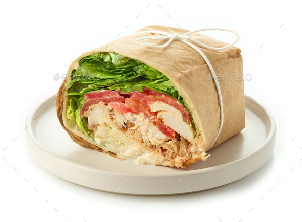 chicken wrap sandwich - Stock Photo - Images