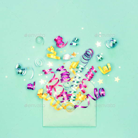 Envelop with Party Decorations on Mint Background. - Stock Photo - Images