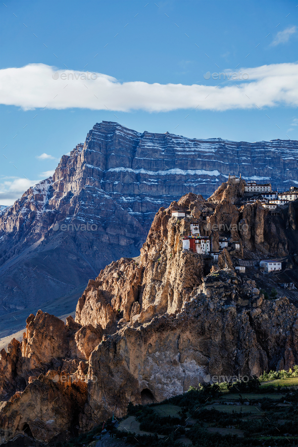 Dhankar monastry perched on a cliff in Himalayas, India - Stock Photo - Images