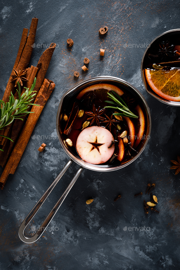 Christmas mulled wine with spices. Traditional winter festive drink at holiday, top view - Stock Photo - Images