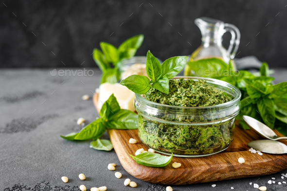 Traditional italian pesto alla genovese with fresh basil - Stock Photo - Images