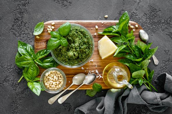 Traditional italian pesto alla genovese with fresh basil - Stock Photo - Images