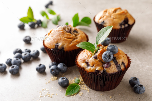 Blueberry muffins with fresh berries - Stock Photo - Images