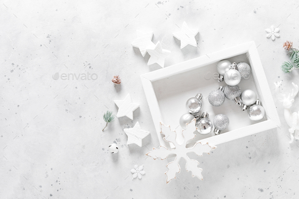 Christmas, New Year or Noel holiday festive decorations, ornaments - Stock Photo - Images
