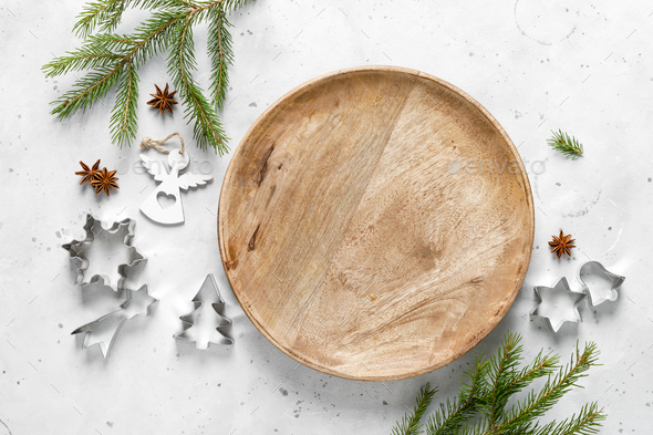 Christmas, Noel or New Year food flat lay background with xmas decorations and fir tree - Stock Photo - Images
