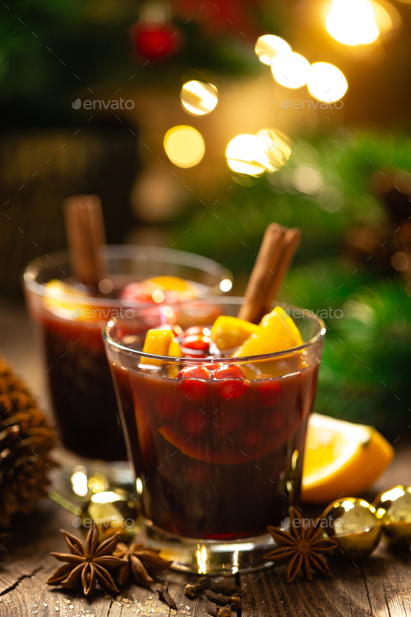 Christmas, New Year, Xmas or Noel mulled wine with decorations - Stock Photo - Images