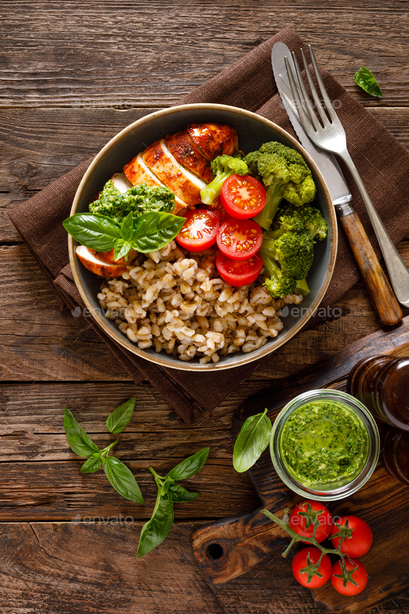 Chicken lunch bowl with vegetables and chicken meat - Stock Photo - Images