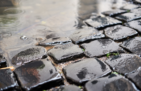 Cobblestone brick paved street in Rome - Stock Photo - Images