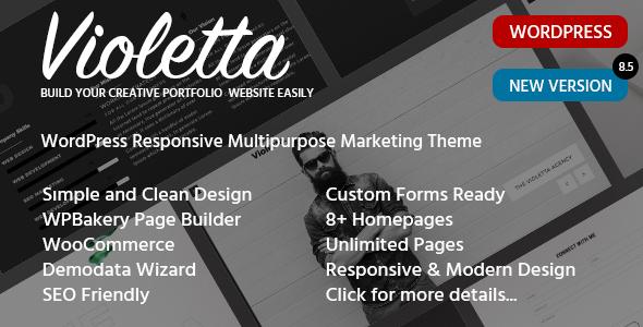 Responsive Personal CV Portfolio WordPress Theme - Violetta