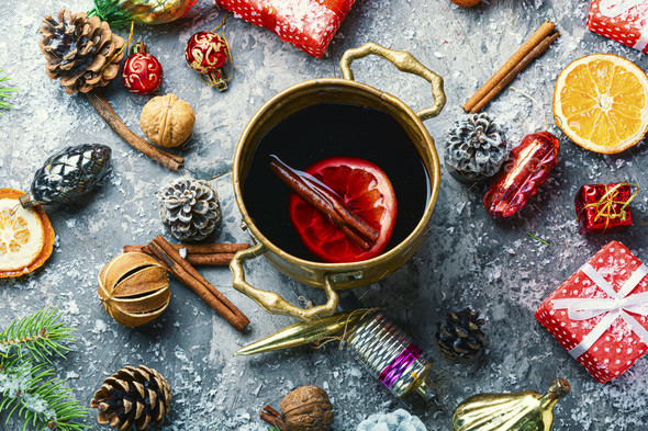 Mulled wine for Christmas - Stock Photo - Images