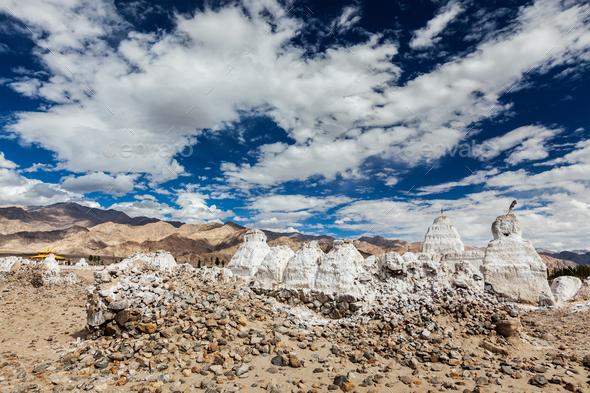 Buddhist chortens, Ladakh - Stock Photo - Images
