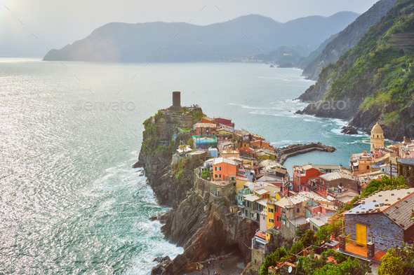 Vernazza village, Cinque Terre, Liguria, Italy - Stock Photo - Images